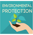environmental protection hand support sapling gree vector image
