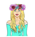 beautiful and young girl blonde wreath on head vector image vector image