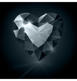 Black shiny diamond heart shape on black vector image