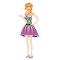 Blonde girl in spring dress vector image