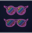 bright neon glasses sunglasses or club glasses vector image vector image
