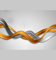 bronze and silver waves on grey background vector image vector image