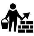 builder man is building a brick wall vector image vector image