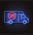 bus neon sign night bright advertisement vector image