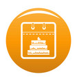 calendar birthday icon orange vector image vector image