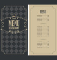 checkered menu for restaurant with price and crown vector image vector image