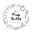 Christmas holidays circle frame with traditional vector image