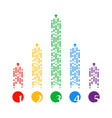 colored bright dotted arrows flying up set arrow vector image