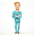 Cute male doctor in green surgical suit with arms vector image vector image
