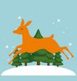 cute reindeer in snowly landscape vector image