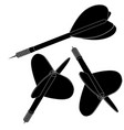 darts black icons vector image