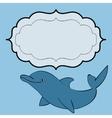 Dolphin sea animal frame text vector image vector image
