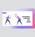 fighting for leadership landing page template vector image vector image