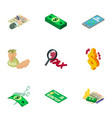 financier icons set isometric style vector image