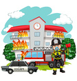 Fire fighter at the fire station vector image vector image