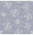 Fish and waves seamless pattern vector image