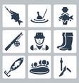 fishing icons set fish on a hook float big fish vector image