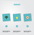flat icons litchi cabbage mango and other vector image vector image