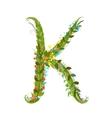 Flower letter K calligraphy floral elegant vector image vector image