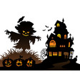 halloween scarecrow silhouette theme 3 vector image vector image