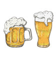 hand drawing beer mug in white background vector image