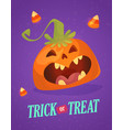 happy halloween greeting card with cute pumpkin vector image vector image