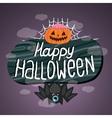 Happy Halloween sign with pumpkin bat web vector image vector image