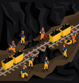 isometric coal industry concept vector image vector image