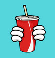 Llustration of red soda cup and holding hands