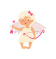 lovely little girl standing and holding with pink vector image vector image