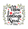 music is what feelings sound like music quotes vector image