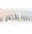 new york usa city skyline in paper cut style vector image