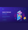 online purchase concept isometric 3d landing page vector image vector image