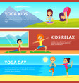 outdoor pictures of kids making different yoga vector image vector image