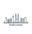 outline kuala lumpur banner vector image vector image