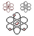 pixel icon atom model in three variants fully vector image vector image
