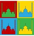 Pop art mosque icons vector image vector image