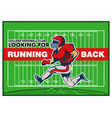 red running back recruitment poster vector image vector image