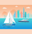 sailboat and ship at city vector image