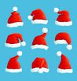 santa hats cartoon christmas costume caps vector image vector image