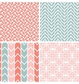 set four gray pink geometric patterns and vector image