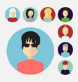 set of male and female faces avatars or people vector image vector image