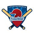shield sticker with baseball sport equipment vector image vector image