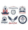 Volleyball tournament and club emblems vector image vector image