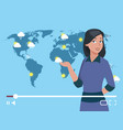 woman anchorman weather channel vector image vector image