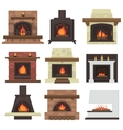 set of home fireplaces vector image