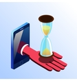 Isometric smartphone showing hand with hourglass vector image