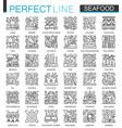 seafood outline mini concept symbols east vector image