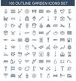 100 garden icons vector image vector image