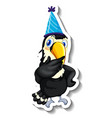 a sticker template with toucan wearing party hat vector image